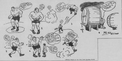Newspaper cartoon with George Hackenschmidt searching the world for Frank Gotch