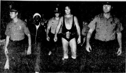 Pro wrestler Steve Keirn with a police escort