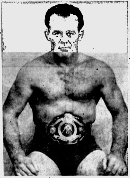 Mobley Flashes Title Belt Rex Mobley, champion of the light heavyweight wrestlers, is shown above wearing the gem-studded belt which is the prized possession of the title holder.  Mobley's claims to the title will be challenged at Fort Brandon tonight by Rod Fenton, aggressive matman.