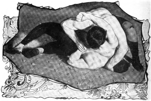 Hold No. 1. HAMMER-LOCK AND PARTIAL HALF-NELSON Reach over your opponent while on hands and knees, grasp the wrist of his right hand in your right hand, and quickly force it backward and upward, bending the arm and forcing it up the back, as shown in photograph.  Secure Half-Nelson either before or after having secured this hold, the Hammer-Lock, then slowly force your opponent over on his back.