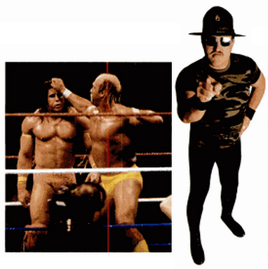 WWF concoctions The Ultimate Warrior and Hulk Hogan (left), and Sergeant Slaughter (right)