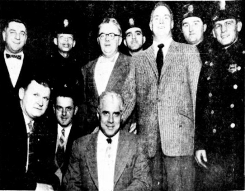 PROMOTERS…  On the committee of the Hartford Police Post 2849, VFW, which sponsored the annual wrestling show at Foot Guard Hall are L-R: Kneeling, Ptlmn. Thomas Killian and Robert Lavoie and Lt. Alfred Garafolo.  Standing, Ptlmn. Daniel Lombardo, Donald Chafin, Francis Fenton, Francesco Niro, John Roach, Frank Rojewski and William Kearns.