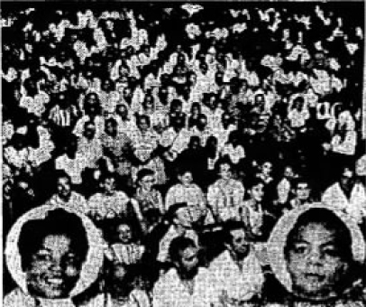 ANOTHER CAPACITY CROWD like the one shown above at last week's Richmond wrestling show is expected tonight as the same girls, Babs Wingo, challenger, (left) and Ethel Johnson, Negro girls champion, tangle in the ARE show tonight.