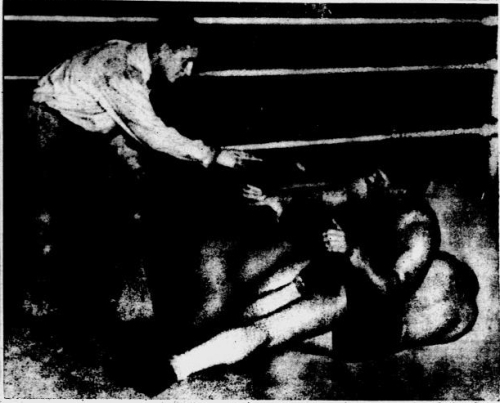 """Oh No, Mr. Referee, You Can't Tell Me What to Do,"" Says Mr. Dusek Shortly before his title match with champion, Danno O'Mahoney, was stopped when a flock of policemen jumped into the ring, Challenger Ernie Dusek got plenty rough, or so referee Dickerhoff though.  Dusek was duly warned of this but Mr. Dusek didn't care to be warned about it, and so told Mr. Dickerhoff while applying a toe hold on the disinterested O'Mahoney.  The above shows the argument in full bloom, with no sound effect.  The wrestlers' purses were held up by the boxing commission."